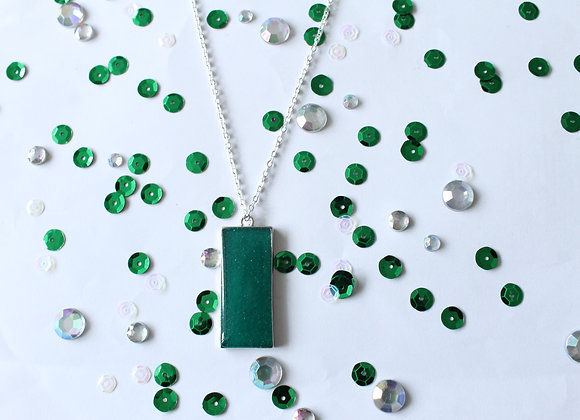Rectangle Green Resin with Sparkles Necklace
