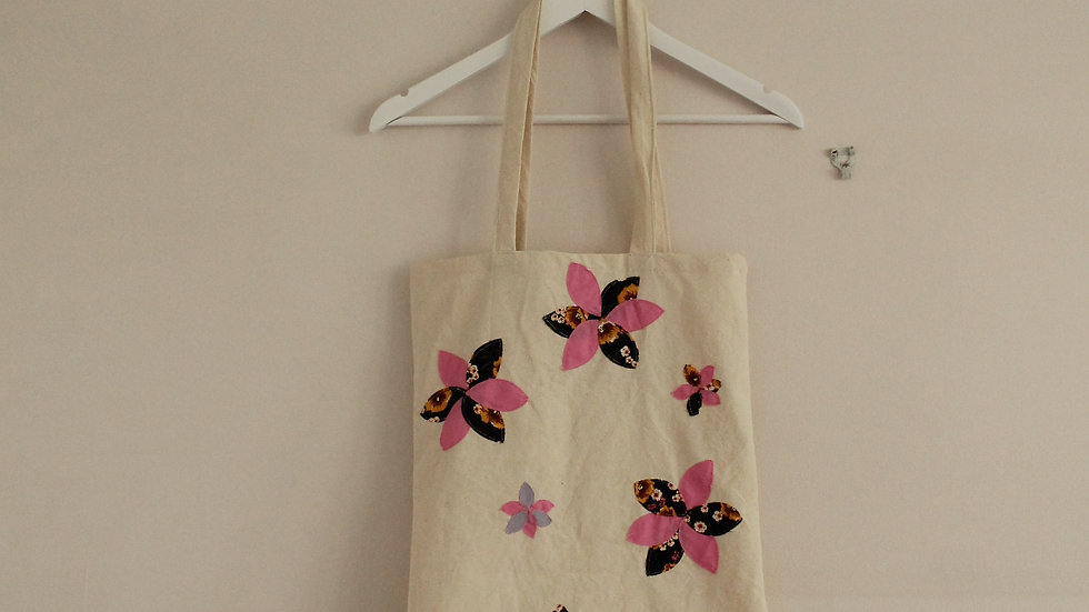 Appliqué Flower Tote Bag