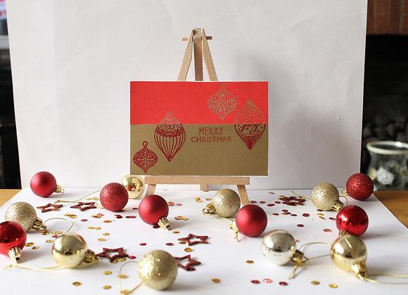 Half and Half Heat embossed Christmas Card