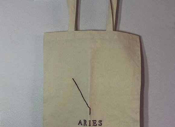 Embroidered Star Sign Tote Bag Aries