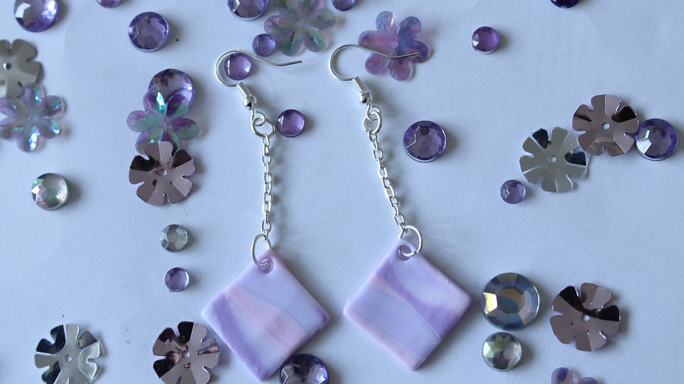 Pink and Purple Marbled Diamond Drop Earrings with Glitter