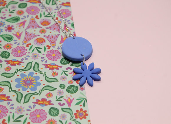 Blue Pendant with Necklace with Daisy Drop