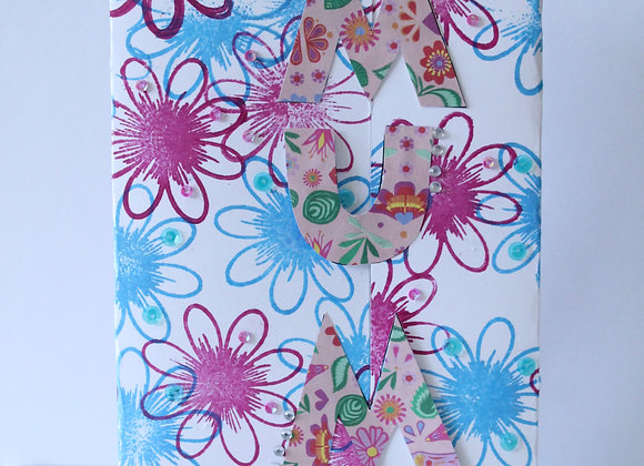 Tri Fold Flower Print Mum Card with Sequins