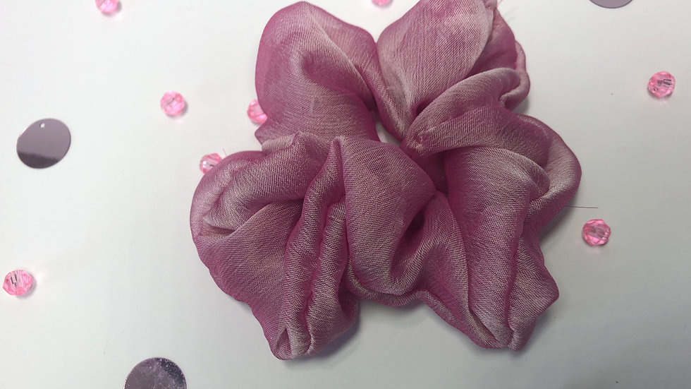 Metallic Pink Chiffon Scrunchy