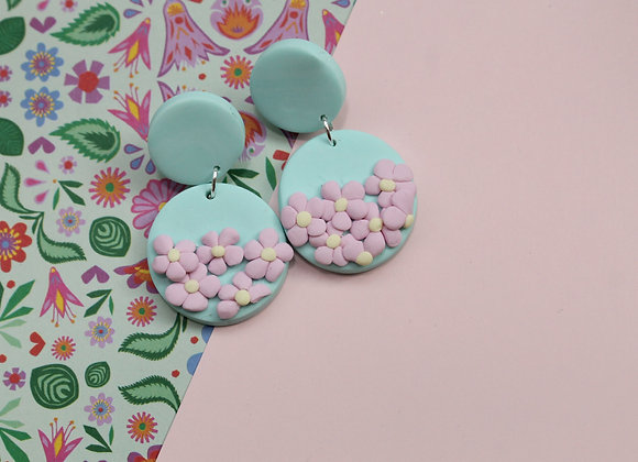 Mint Stud Earrings with Delicate and Beautiful Floral Details