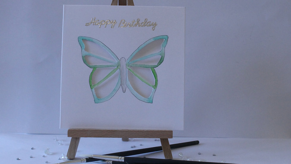 Butterfly Collection: Green Cut-out Butterfly hand painted