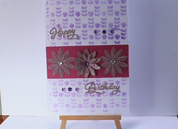 Sparkly 3D Flowers with Faded Ink Floral Background