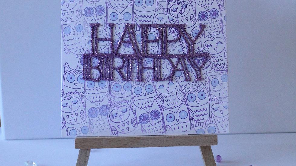 Owl Friends Background Birthday Card
