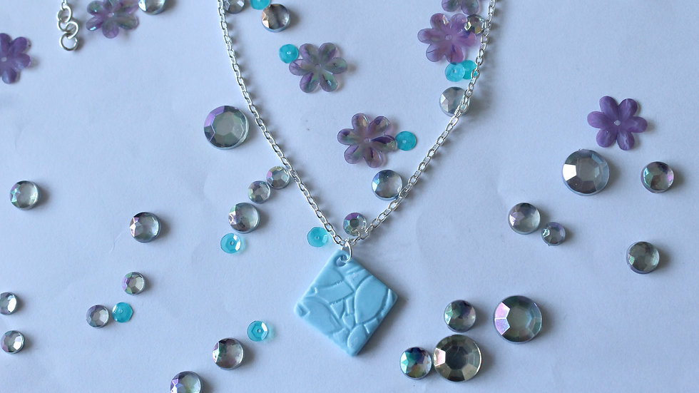 Polymer Clay Diamond Shaped Pendant with Floral Embossing