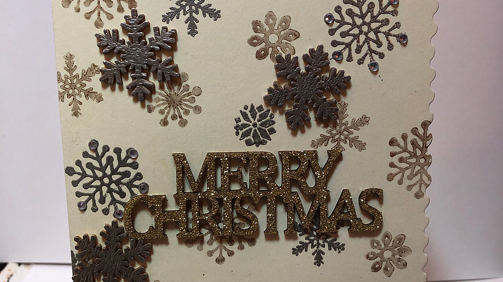 Stamped Snowflake Background Merry Christmas Card