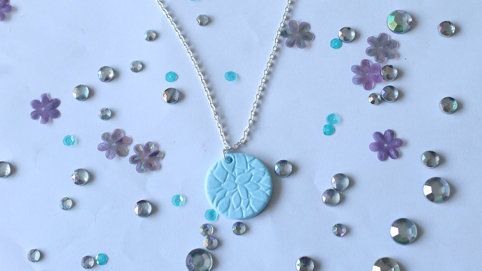 Polymer Clay Pendant with Floral Embossing