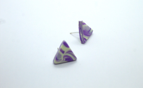 Yellow and Purple Triangle Stud