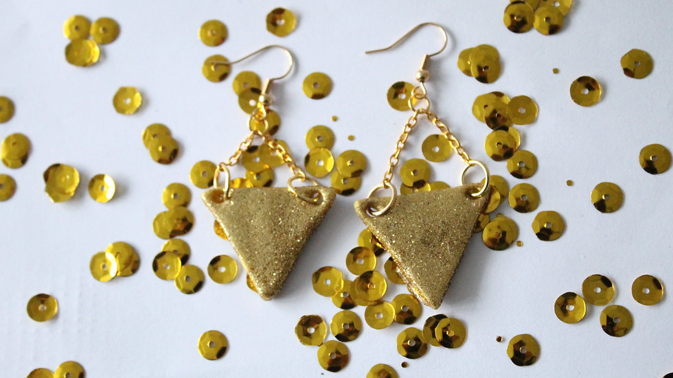 Large Gold Sparkly Triangle Earrings