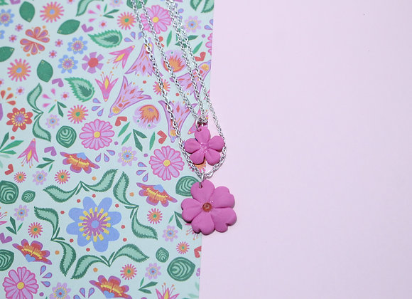 Double Pink Flower Necklace