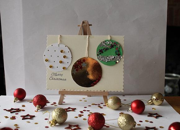 Three Bauble Christmas Card