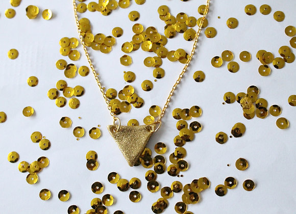 Sparkly Gold Triangle Necklace