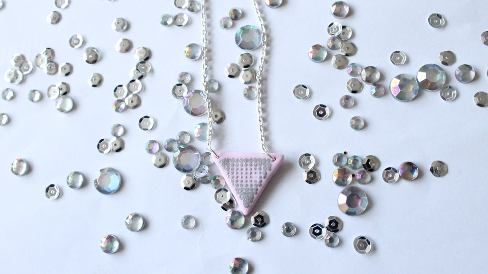 Light Pink Triangle Necklace with Silver Embossed Spotted Print