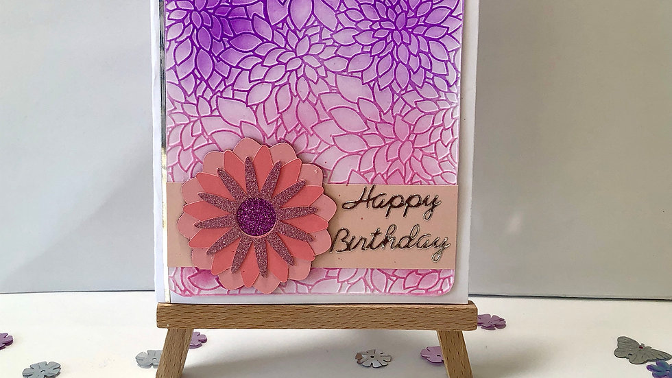 Ink and Embossed Flower Birthday Card