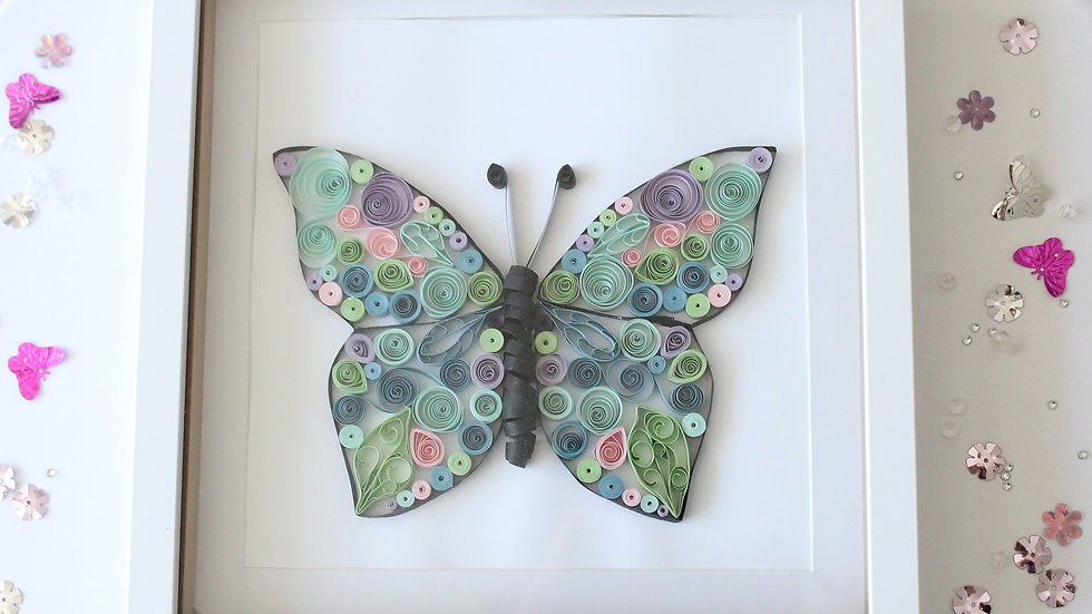 Paper Quilled Butterfly Framed