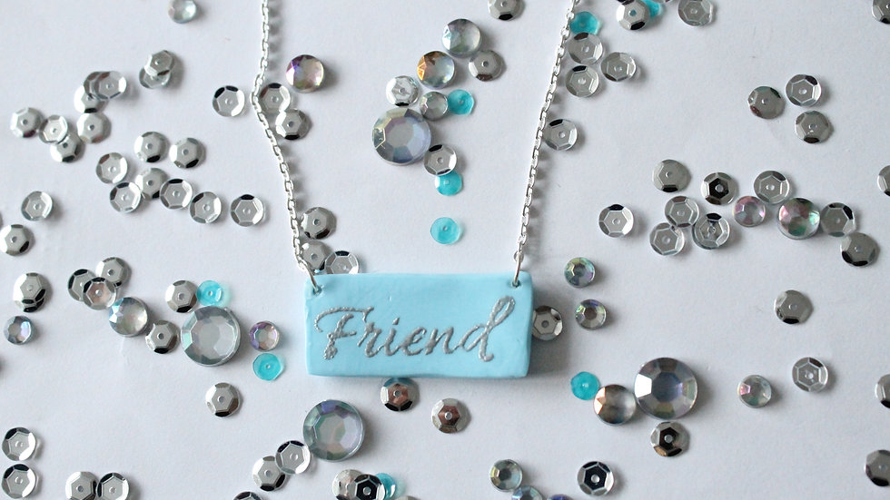 Silver Embossed Friend Printed Blue Necklace