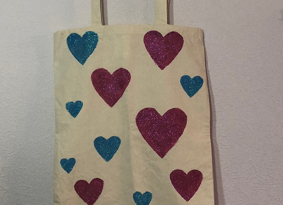 Sparkly Heart Tote Bag