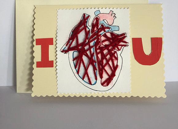 I love You Handmade Wool Heart Diagram Card