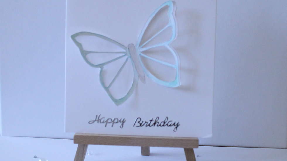 Butterfly Collection: Blue/Green Cutout 3D Butterfly hand painted.