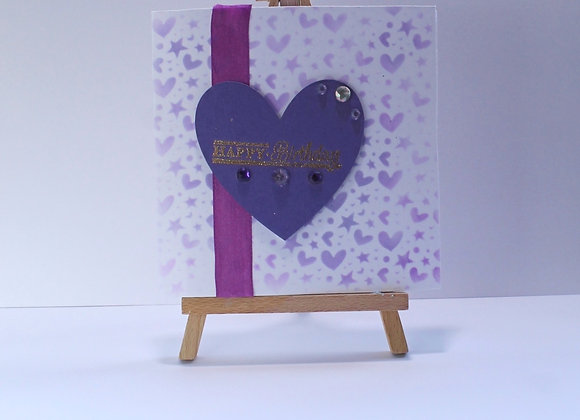 Heart and Flowers Card Faded Ink Background