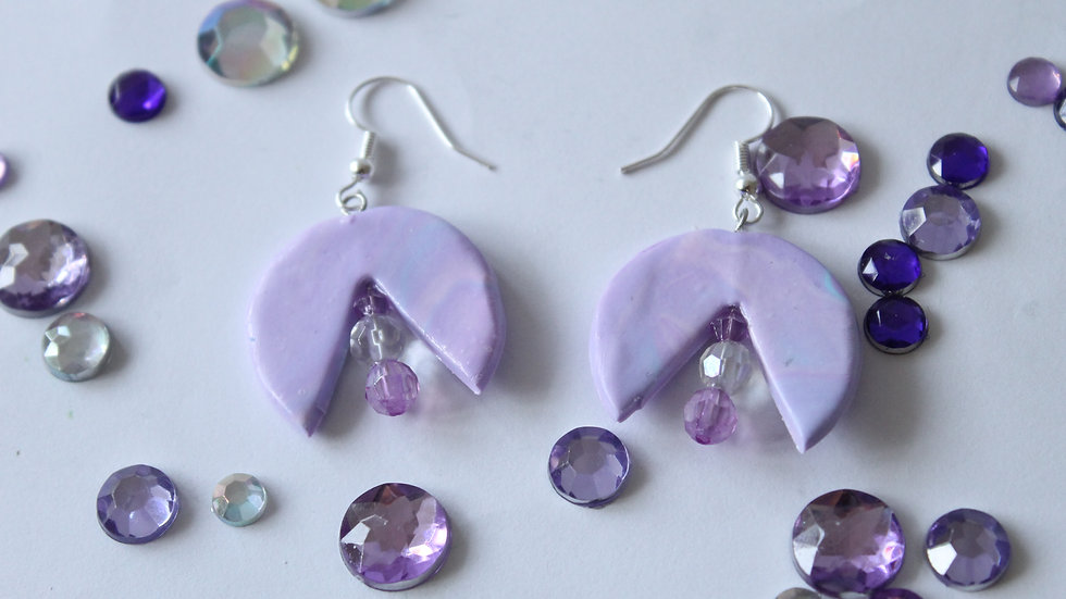 Pink and Blue Marbled Earrings with Triangle Cut Out with  Beaded Drop