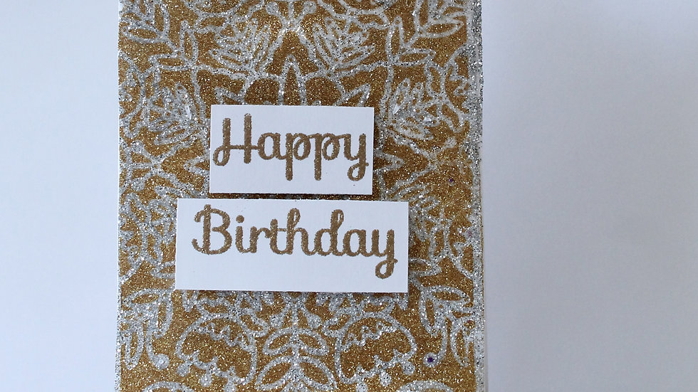 Sparkly Floral Background Birthday Card