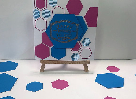 Hexagon Background with Heat Embossed Birthday Sentiment