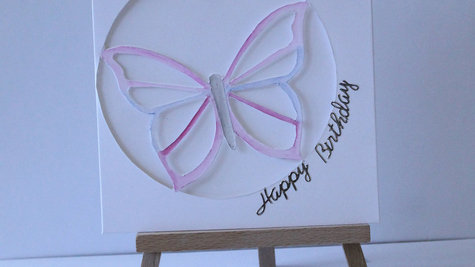 Butterfly Collection: Pink Cut-out Butterfly hand painted