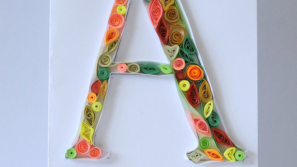 Paper Quilled Card- Choose your Letter, Number Or 3 Letter Word