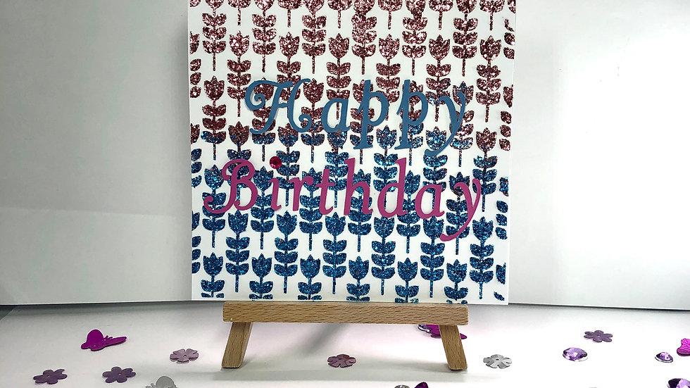 Sparkly Floral Birthday Card