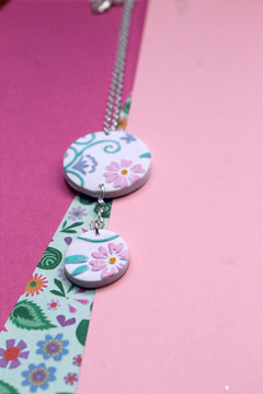 Hand Painted Embossed Necklace