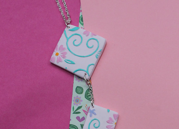 Soft Pink Diomend Floral Embossed Hand Painted Necklace with Small Drop