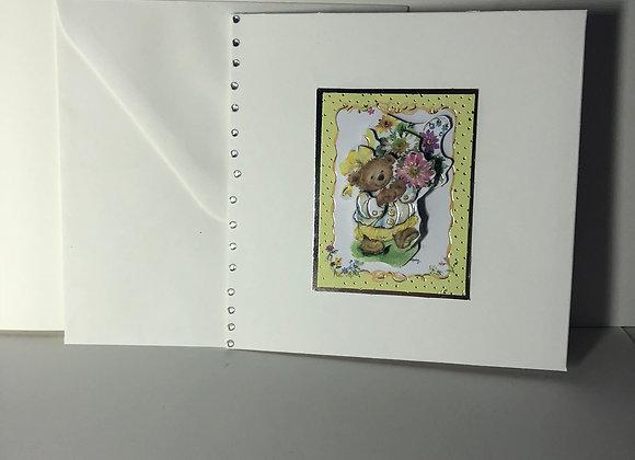 Decoupage Bear Yellow Frame Card