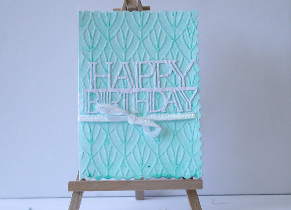 Mint Green Sparkle Embossed Birthday Card