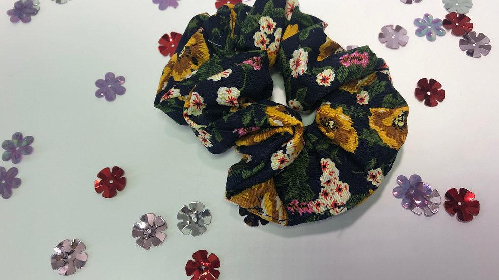 Navy Floral Scrunchy