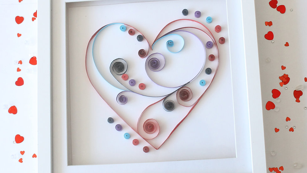 Paper Quilled Heart Framed