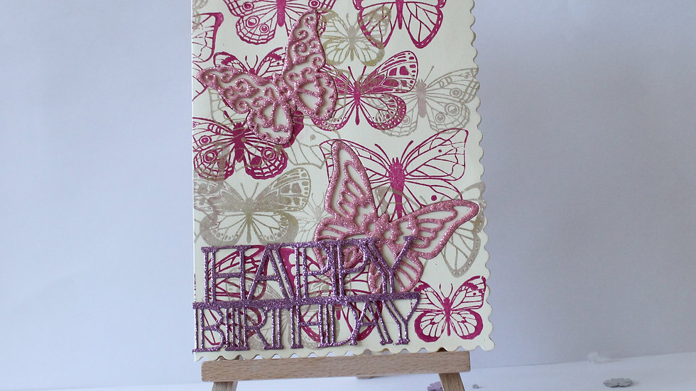 Butterfly Print with Embedded Die Cut Butterfly details.