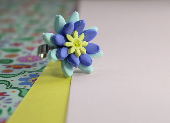 Mint, Blue and Yellow Blossoming Flower Ring