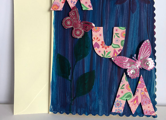 MUM Card, with 3D butterflies and hand embossed and painted Leaves and Flowers