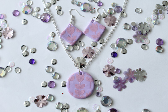 Floral Printed Earrings and Necklace