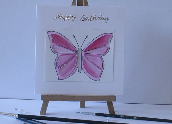Butterfly Collection: Pink Built Up Butterfly hand painted