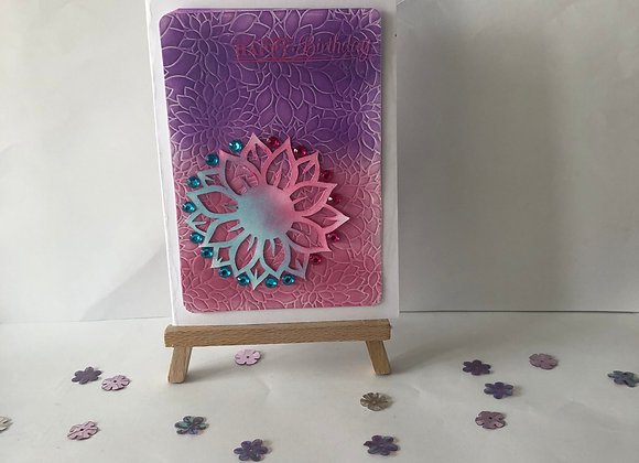 Embossed Pink and Purple Blend Background with Embossed Acetate Overlay