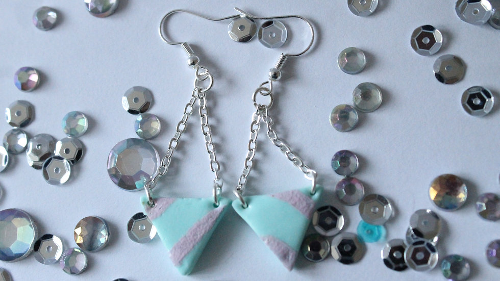 Teal Triangle Earrings with Pink Wavy Line Print