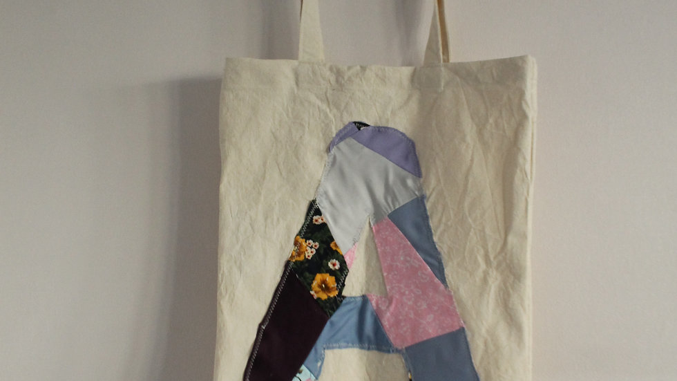 "Letter ""A"" Patchwork Appliqué Tote Bag"