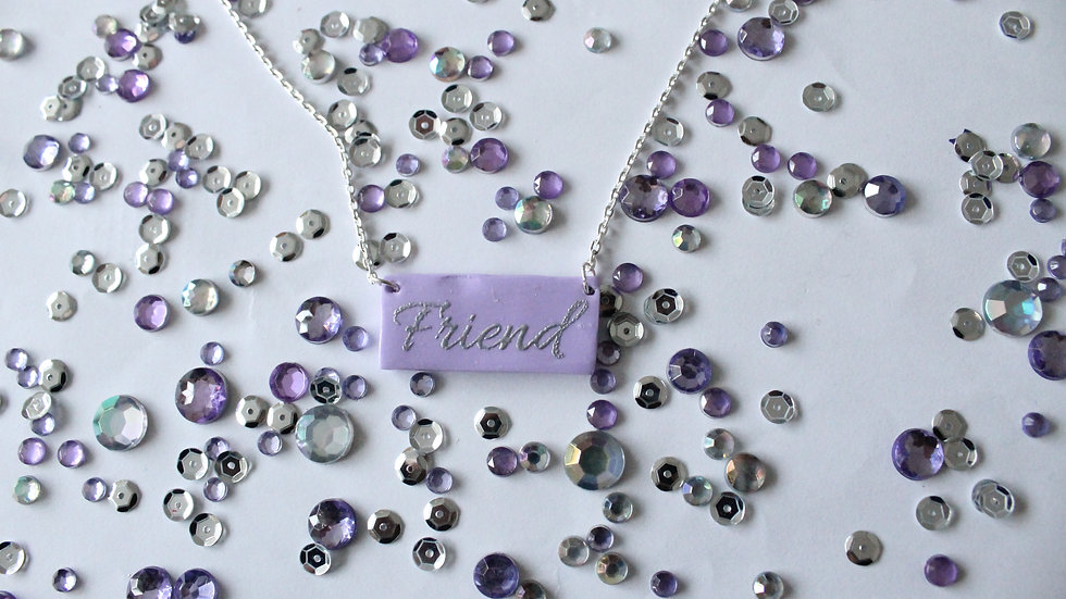 Silver Embossed Friend Printed Lilac Necklace