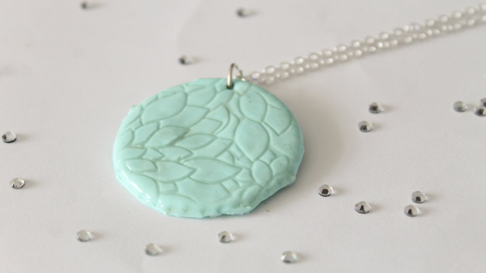 Teal Polymer Clay Pendant with Subtle Floral Embossed